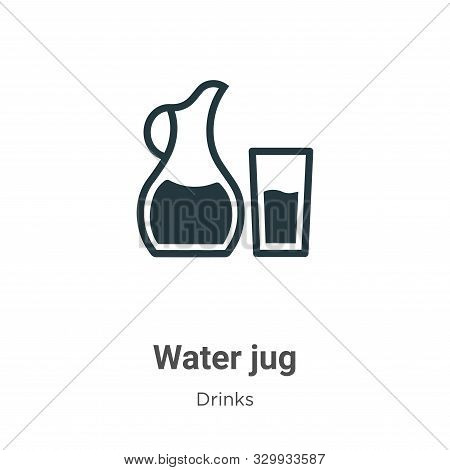 Water jug icon isolated on white background from drinks collection. Water jug icon trendy and modern