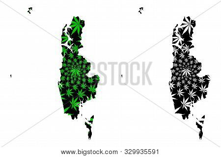 Phang Nga Province (kingdom Of Thailand, Siam, Provinces Of Thailand) Map Is Designed Cannabis Leaf