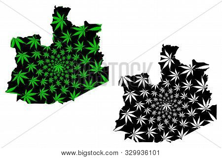 Phra Nakhon Si Ayutthaya Province (kingdom Of Thailand, Siam) Map Is Designed Cannabis Leaf Green An