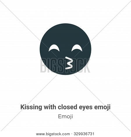 Kissing with closed eyes emoji icon isolated on white background from emoji collection. Kissing with