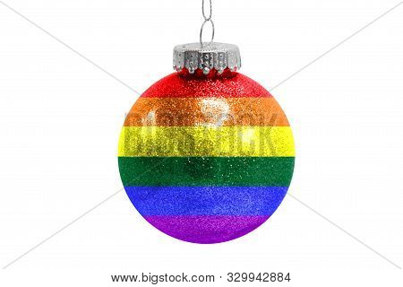 Glass Christmas Ball Toy Isolated On White Background With The Flag Of Lgbt