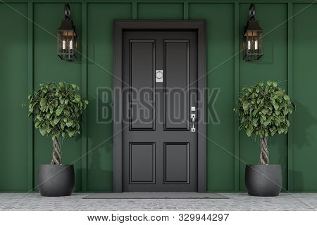 Black Front Door Of Green House With Trees