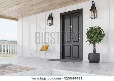 Black Door Of White House, Tree, Bench, Side View