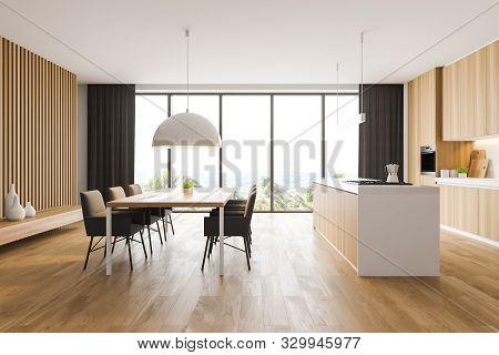Panoramic White And Wood Kitchen Interior