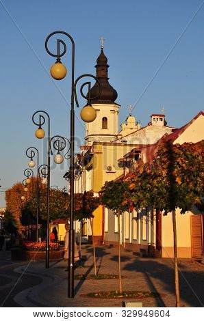 Lenin Street In Pinsk. View Of The Church Of The Blessed Virgin Mary
