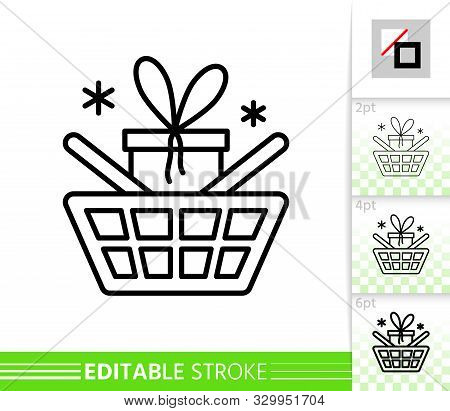 Basket Shop, Gift Box, Best Buy Thin Line Icon. Christmas Sale Banner. Linear Pictogram Poster. Simp