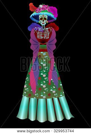 Catrina Skeleton Calavera. Catrina Is A Character Of The Mexican Popular Culture That Represents The