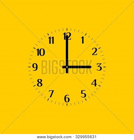 Analog Vector Clock Face Over Yellow, With Regular Arabic Numerals. Part Of An Analog Clock, Or Watc