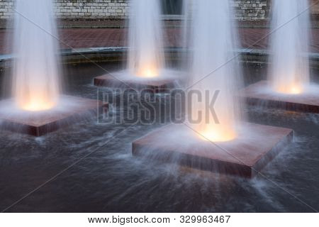 Four Illuminated Fountains In Medieval Centre Of Middelburg, The Netherlands
