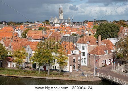 Aerial View At Dutch Medieval City Middelburg