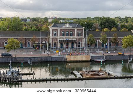 Middelburg, The Netherlands - October 02, 2019: Middelburg Railway Station With Construction Site Fo