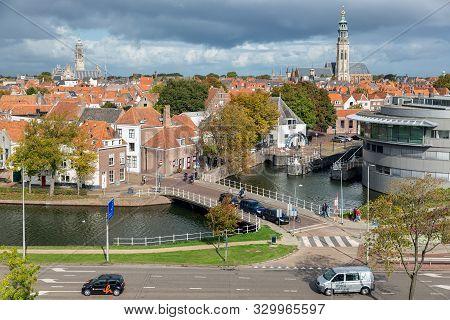 Middelburg, The Netherlands - October 02, 2019: Aerial View At Dutch Medieval City Middelburg