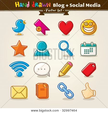 Vector Hand Draw Blog And Social Media Icon Set