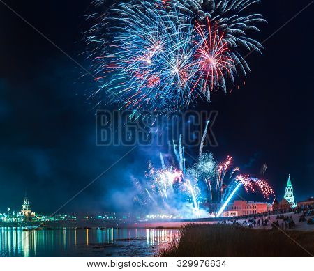 Fireworks Explode In A Glorious Display Over The Kokshaga River At Yoshkar-ola City Annual Fireworks