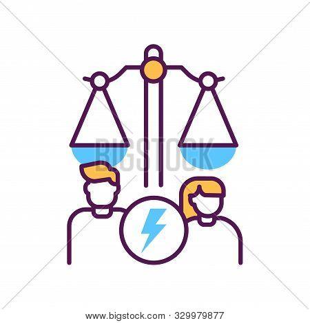 Divorse Line Color Icon. Judiciary Concept. Family Law. Sign For Web Page, Mobile App, Button, Logo.