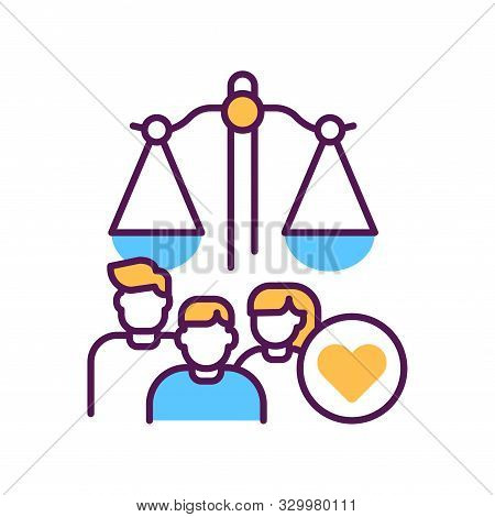Family Court Line Color Icon. Judiciary Concept. Child Custody. Sign For Web Page, Mobile App, Butto