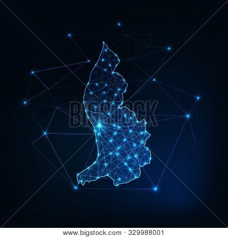 Liechtenstein Map Glowing Silhouette Made Of Stars Lines Dots Triangles, Low Polygonal Shapes.