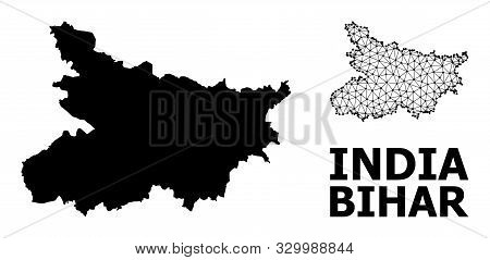 Solid And Mesh Vector Map Of Bihar State. Wire Frame 2d Triangular Mesh In Eps Vector Format, Geogra
