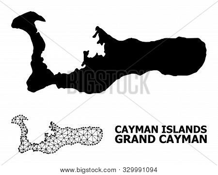 Solid And Mesh Vector Map Of Grand Cayman Island. Wire Carcass Flat Triangular Network In Vector For