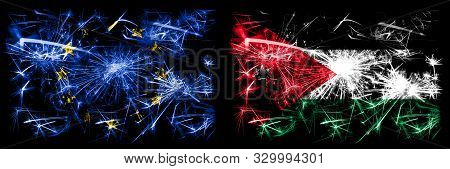 Eu, European Union Vs Jordan, Jordanian New Year Celebration Sparkling Fireworks Flags Concept Backg
