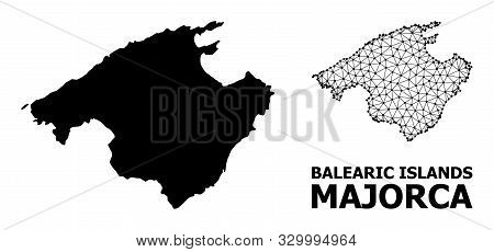 Solid And Mesh Vector Map Of Majorca. Wire Frame 2d Polygonal Mesh In Vector Eps Format, Geographic