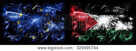 Eu, European Union Vs Palestine, Palestinian New Year Celebration Sparkling Fireworks Flags Concept