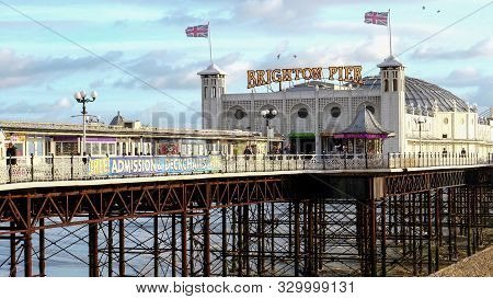 Brighton, England- October, 4 2017: Close Up Of Brighton Pier In England On A Sunny Autumn Afternoon