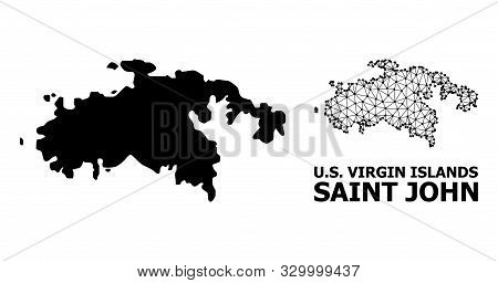 Solid And Mesh Vector Map Of Saint John Island. Linear Carcass 2d Triangular Network In Vector Forma