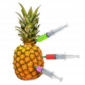 Pineapple with a syringes full of chemicals. Genetic Food Modification, concept. 3D rendering isolated on white background poster