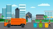 City waste recycling concept with garbage truck, garbage collector and garbage men on city landscape background. poster