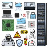 Vector icons of computer hacker, account login, password and credit card data phishing, ddos attack and digital malware. Computer hacker, internet security fraud and cyber hacking crime symbols poster