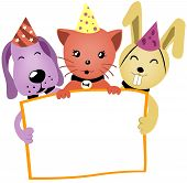 Birthday Animals holding a blank board with Clipping Path poster