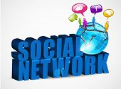 3D social networking background with text, mini globe and people connected with network, isolated on white. EPS 10. poster