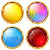 Buttons collection, round glossy blank web elements of various colors, eps10, contains transparencies. Vector poster