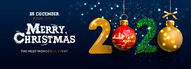 Merry Christmas And Happy New Year 2020 Banner, Xmas Festive Decoration. Horizontal Christmas Poster