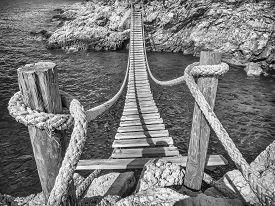 Hanging Wooden Bridge Connect Rocky Sea Coast