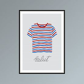Hand Drawn Poster With Blue And Red Striped T-shirt And Handlettered Word Salut, French For Hello.