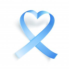 Blue Ribbon Over White Background. Realistic Medical Symbol For Prostate Cancer Awareness Month In N