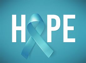 Poster Hope With Realistic Blue Ribbon, Medical Symbol For Prostate Cancer Awareness Month In Novemb