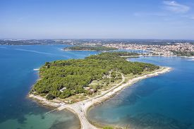 An Aerial Photo Of Medulin In The Background And The Kašteja Forest Park With A Campsite In The Fore