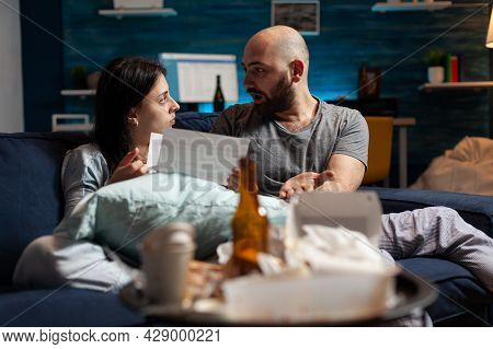 Depressed Couple Feeling Sadness Stressed About High Mortgage Rates, Worried Tenants By Warning Noti