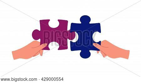 Business Partnership Metaphor. The Concept Of Building A Business System, Solving Problems, Brainsto