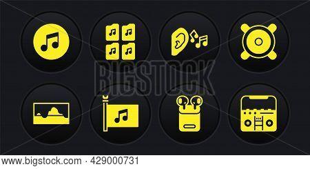 Set Music Wave Equalizer, Stereo Speaker, Festival Flag, Air Headphones In Box, Ear Listen Sound Sig