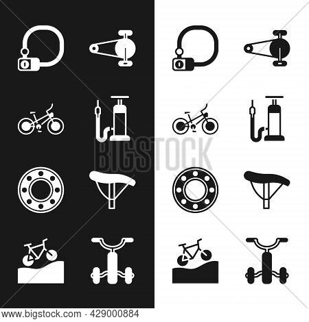 Set Bicycle Air Pump, Lock, Chain With Gear, Ball Bearing, Seat, For Kids And Mountain Bicycle Icon.