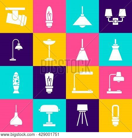 Set Led Light Bulb, Table Lamp, Lamp Hanging, Floor, Led Track Lights And Lamps And Chandelier Icon.