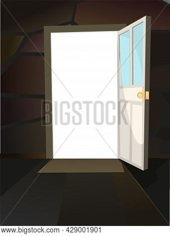 Opened Door. Simple And Flat Style. Inside View From Dark Room Of House. Stone Wall. Open. Cartoon C