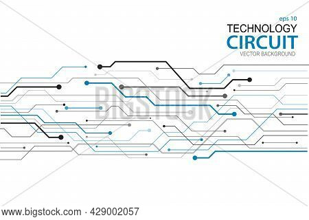 Abstract Futuristic Circuit Board Illustration In White Background, Circuit Board With Various Techn