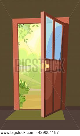 Opened Door. The View From The Inside From The Room Of The House To A Forest Landscape With A Road.