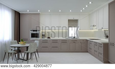 Large Stylish Kitchen With Coffee And Milk Color. Modern Design Of Kitchen Furniture. Cozy Luxury Ki