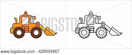 Excavator Coloring Page For Kids. Digger Side View